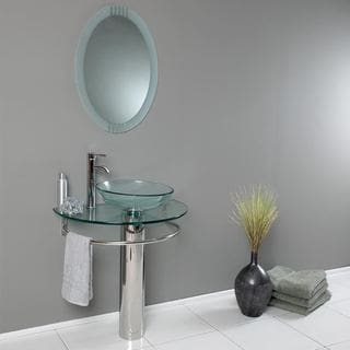 Belvedere Modern 29.5-inch Bathroom Vanity, Tempered Glass Sink