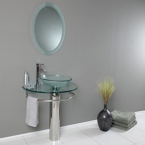 Belvedere Modern 29.5-inch Bathroom Vanity, Tempered Glass Sink