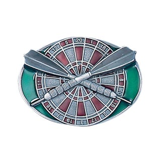 Darts and Board Multicolor Enameled Metal Belt Buckle