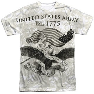 Army/Union Short Sleeve Adult Poly Crew in White