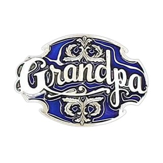 Grandpa with Scroll Blue and White Enameled Metal Belt Buckle
