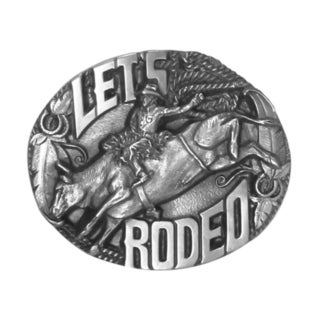'Let's Rodeo' Grey Antiqued Metal Belt Buckle