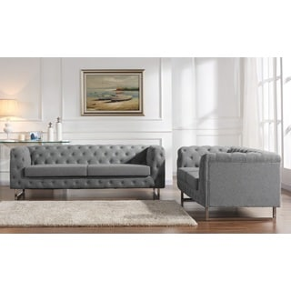 Modern Rolled Arm Tufted Linen Fabric 2-Piece Sofa Set