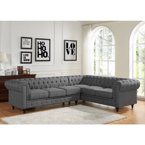 Incroyable Sophia Modern Style Tufted Rolled Arm Left Facing Chaise Sectional Sofa