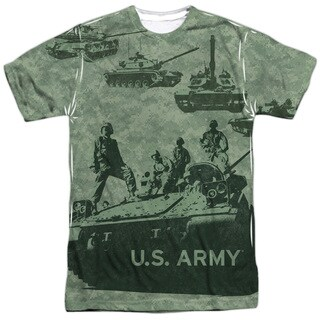 Army/Tank Up Short Sleeve Adult Poly Crew in Sublimate White