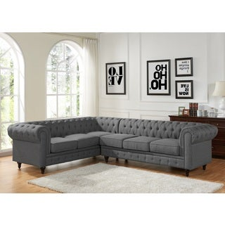 Sophia Modern Style Tufted Rolled Arm Right Facing Chaise Sectional Sofa