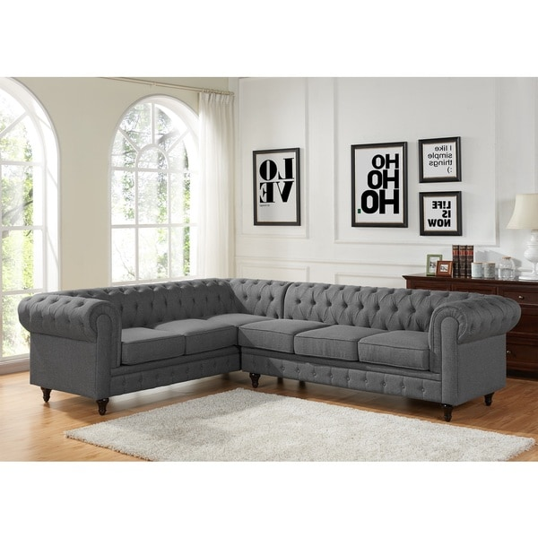Attirant Sophia Modern Style Tufted Rolled Arm Right Facing Chaise Sectional Sofa