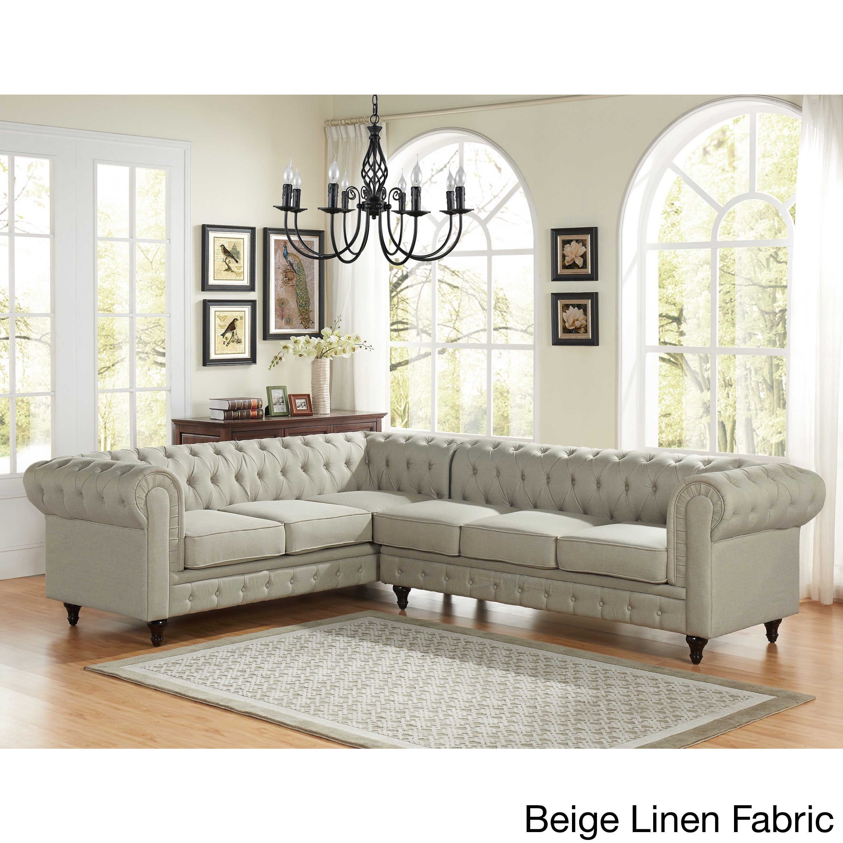 Sophia Modern Style Tufted Rolled Arm Right Facing Chaise