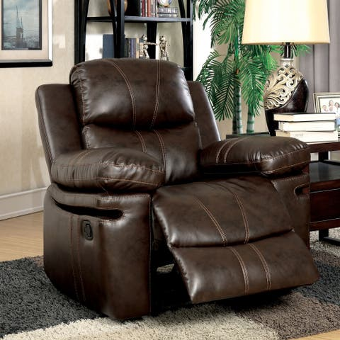 Furniture of America Ellister Transitional Brown Bonded Leather Match Recliner