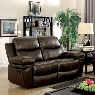 Ellister Contemporary Brown Reclining Loveseat by FOA