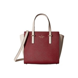 Kate Spade New York Cedar Street Hayden Linen/Merlot Leather Satchel Handbag