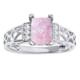 18K White Goldplated and Pink Opal Resin Baguette-cut Ring