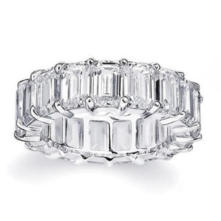 Rhodium Plated Brass Emerald-Cut Cubic Zirconia Eternity Ring