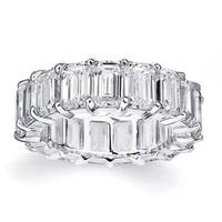 Rhodium Plated Brass Emerald-Cut Cubic Zirconia Eternity Ring