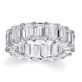 Rhodium Plated Brass Emerald-Cut Cubic Zirconia Eternity Ring (3 options available)