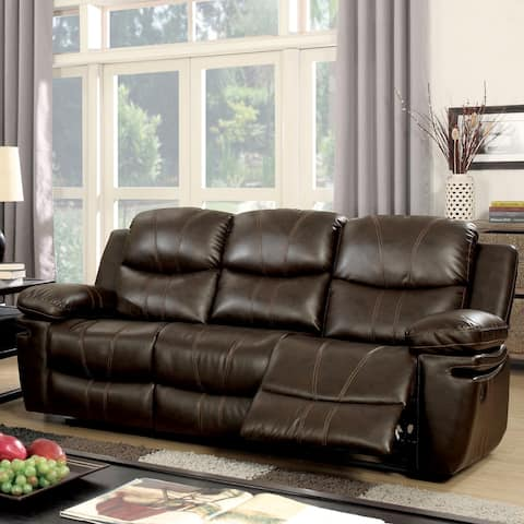 Furniture of America Eliv Contemporary Brown Reclining Sofa