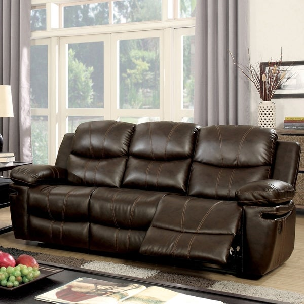 Shop Ellister Contemporary Brown Bonded Leather Sofa by FOA - Free ...