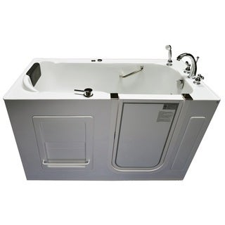 Signature Bath Ashton Series White Acrylic/Stainless Steel 60-inch x 30-inch x 35-inch Walk-in Whirlpool