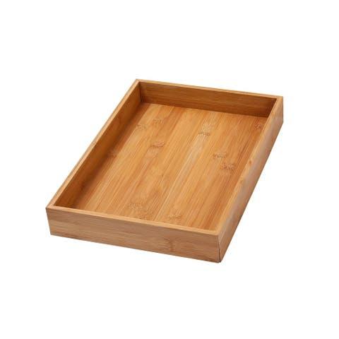YBM Home & Kitchen Bamboo 14-inch Long x 10-inch Wide x 2-inch High Drawer Organizer Box