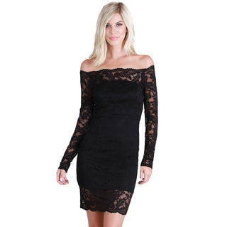 Nikibiki Women's Black Nylon and Spandex Off-shoulder Lace Overlay Dress