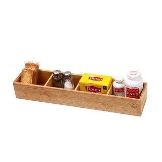 YBM Home & Kitchen Brown Bamboo Wood 4-compartment Organizer Box