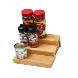 Ybm Home & Kitchen Natural Finish Wood 3-tier Spice Rack