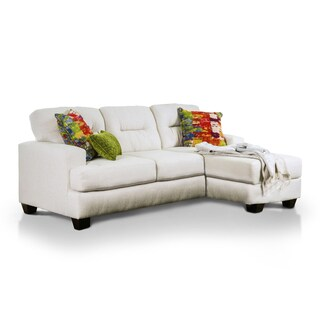 Furniture of America Minerva Modern Ivory Stain Resistant Reversible Sectional