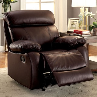 Furniture of America Nart Transitional Brown Leather Glider Recliner