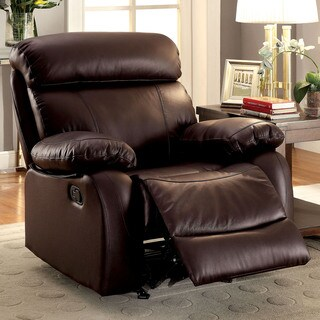 Furniture of America Gausten Transitional Brown Leather Glider Recliner