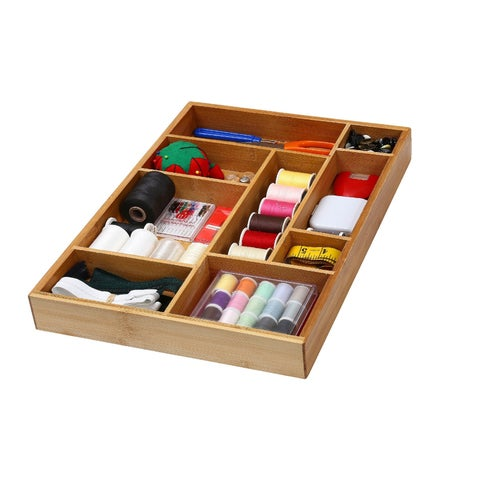 YBM Home & Kitchen Brown Bamboo Utility Drawer Dividers