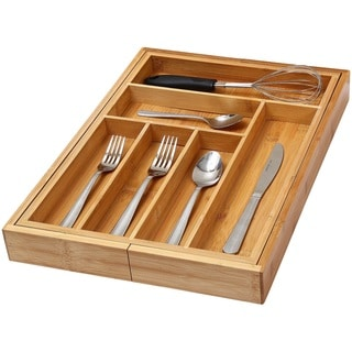 YBM Home & Kitchen Bamboo 6-Compartment Cutlery Drawer Organizer Tray