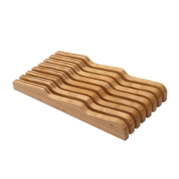 YBM Home & Kitchen Bamboo Large In-Drawer Knife Storage Block