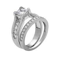 Rhodium Plated Engagement Ring - White