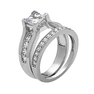 Rhodium Plated Engagement Ring - White