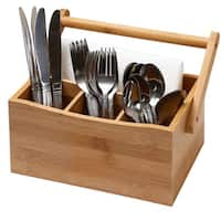 Ybm Home & Kitchen 4 Compartment Bamboo Flatware Caddy with Handle - Brown