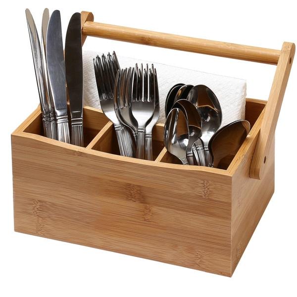 Shop Ybm Home & Kitchen 4 Compartment Bamboo Flatware