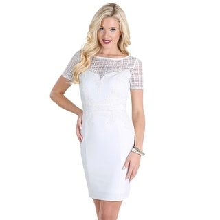 Nikibiki Women's Off-white Lace Applique Short-sleeve Dress