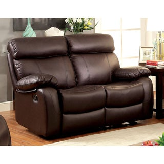 Furniture of America Gausten Transitional Brown Leather Reclining Loveseat