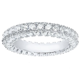 Rhodium Plated Brass and Italian-cut Cubic Zirconia 3-row Eternity Ring