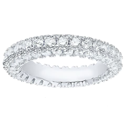 Rhodium Plated 3-row Eternity Ring