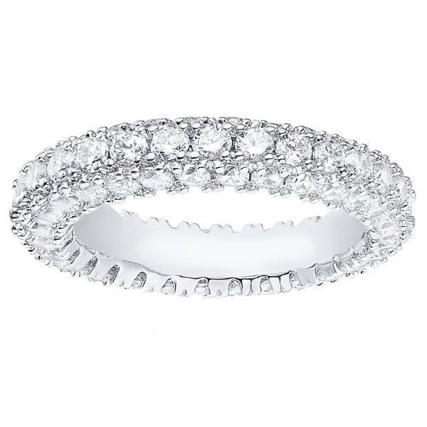 Rhodium Plated 3-row Eternity Ring. Opens flyout.