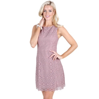 Nikibiki Women's Mauve Polyester Tile-lace Embroidered Dress