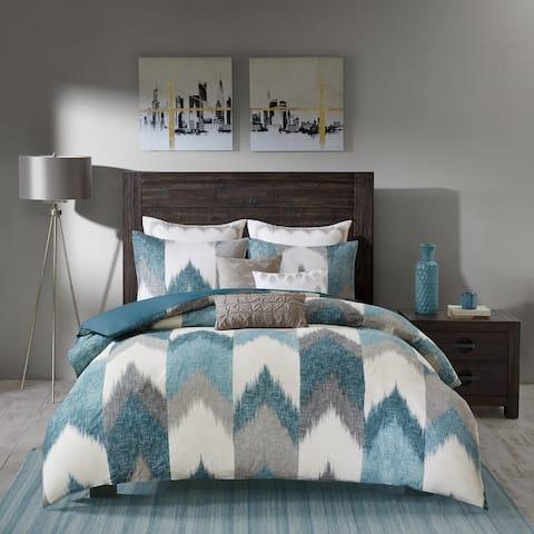 Carson Carrington Kallaste Aqua Cotton Printed Comforter 3-piece Set