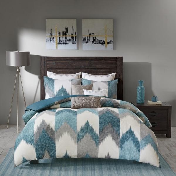 INK IVY Alpine Aqua Cotton Printed Comforter Mini Set