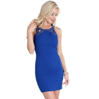Nikibiki Women's Royal Blue Front Cut-Out Beaded Dress