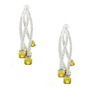One-of-a-kind Michael Valitutti Yellow and White Cubic Zirconia Dangling Stud Earrings
