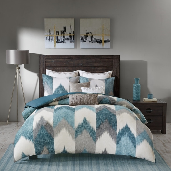 Carson Carrington Ogre Aqua Cotton Printed Duvet Cover 3-piece Set