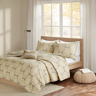 Madison Park Pure Luna Yellow 4 Piece Cotton Printed Coverlet Set