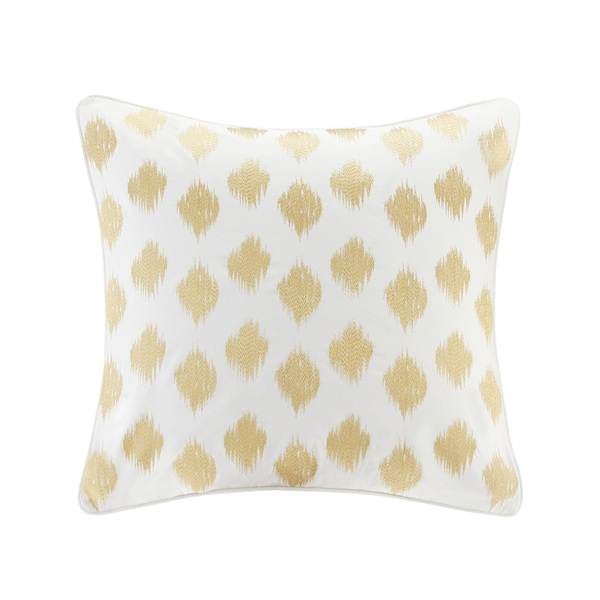 INK+IVY Nadia Dot Gold Cotton Embroidered Euro Sham