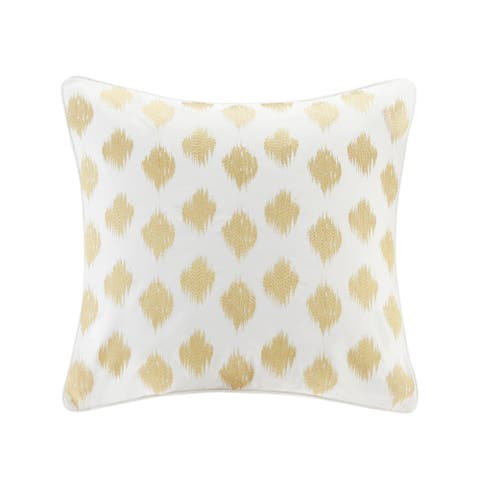 The Curated Nomad Miley Gold Dot Cotton Embroidered Euro Sham - 26x26""